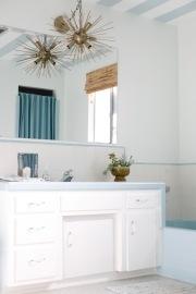 vintage mid century blue bathroom original striped ceiling sputnik tiles retro