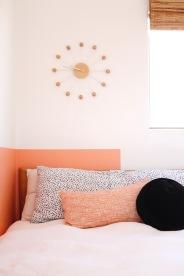 pink black interior bedroom girl room mid century modern