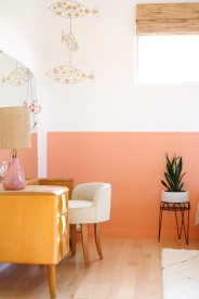 pink interior bedroom girl room mid century modern
