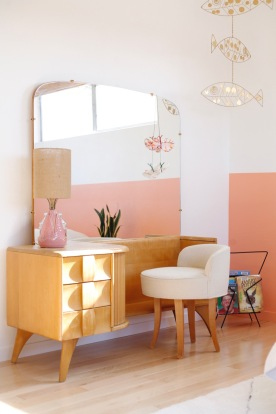 pink black interior bedroom girl room mid century modern heywood wakefield kohinoor vanity