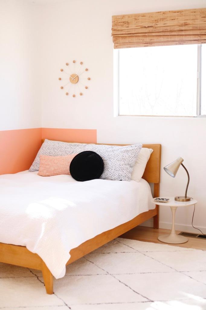 pink black interior bedroom girl room mid century modern tulip side table heywood wakefield kohinoor bed rugs USA keno moroccan shag rug nuloom