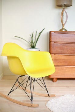 yellow eames rocking chair