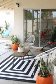 Target Outdoor Rug Mitre Strip black white project 62 midcentury patio backyard acapulco chairs