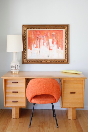 mid century desk orange saarinen abstract painting office blue walls