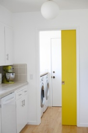 laundry room pocket door yellow