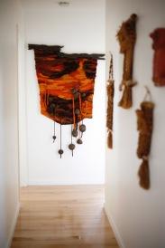 mid century weaving fiber art owl macrame wall