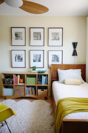 mid century boy kid room yellow