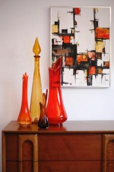 mid century abstract painting blenko glass dresser