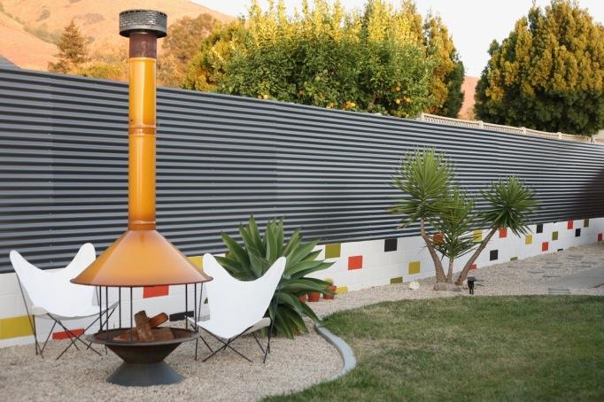 DIY modern corrugated polycarbonate fence backyard mid century
