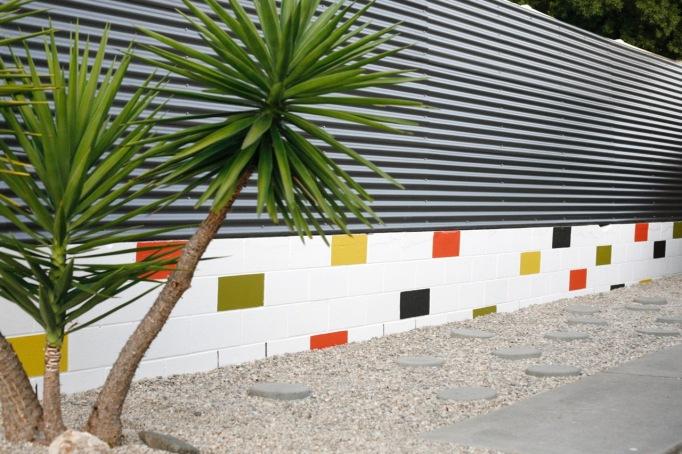 DIY painted cinderblock wall mid century modern colorful mural