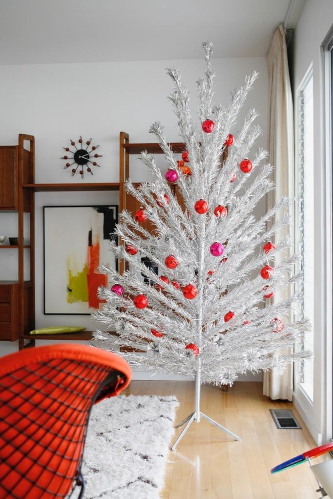 mid century aluminum christmas tree family living room red ornaments danish modern vintage retro