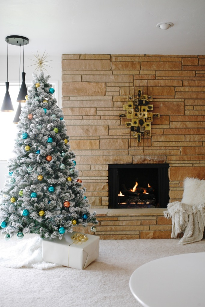 mid century vintage flocked christmas tree retro shiny brite family room rock fireplace