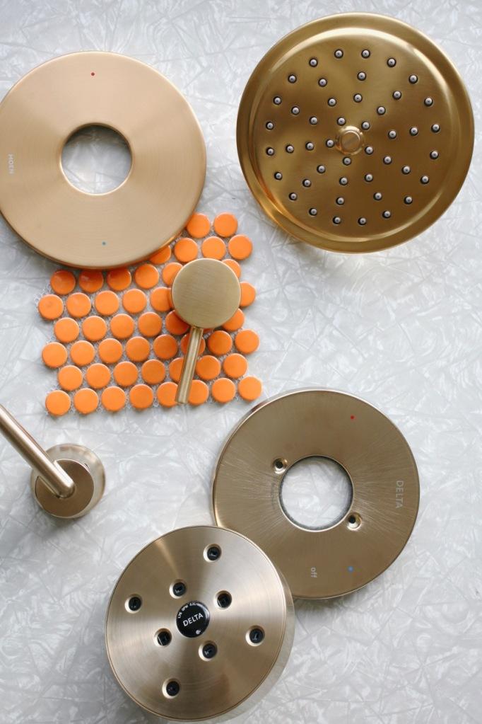 modern mid century bathroom shower trim kits fixtures moen align delta trinsic brass