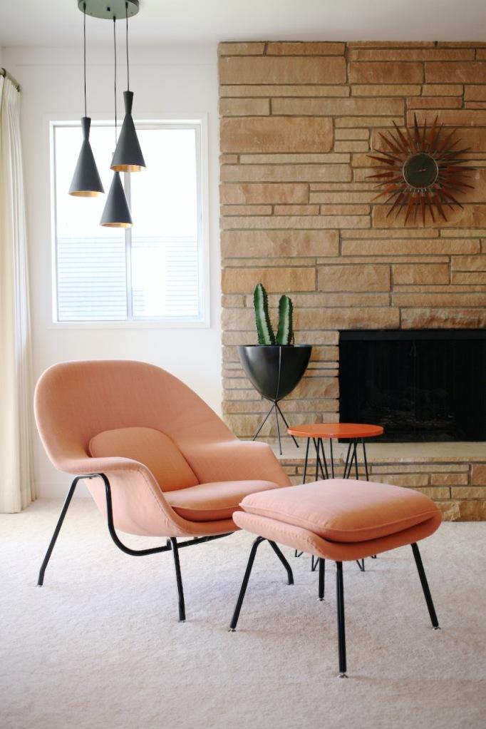 mid century living room family womb chair orange