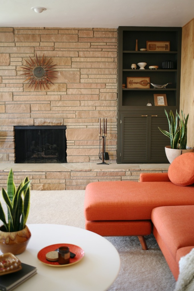 mid century rock fireplace living family room