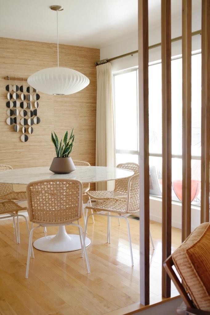 dining living room divider mid century walnut